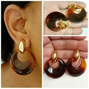 NOS Kenneth Jay Lane Faux Tortoise Shell Earrings